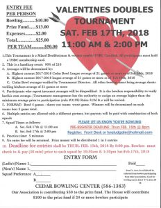 Valentines Doubles Bowling Tournament