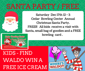 Santa Clause will be at Cedar Bowling Center