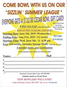 2019 Sizzlin Summer Bowling League Cedar Bowling Center